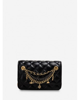 Chain Cross Floral Pendant Quilted Crossbody Bag - Black