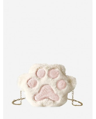 Cat Claw Fuzzy Chain Crossbody Bag - Milk White