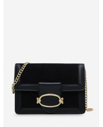 Crossbody Square Jointed Shoulder Bag - Black