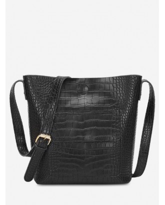 Artificial Leather Bucket Crossbody Bag - Black