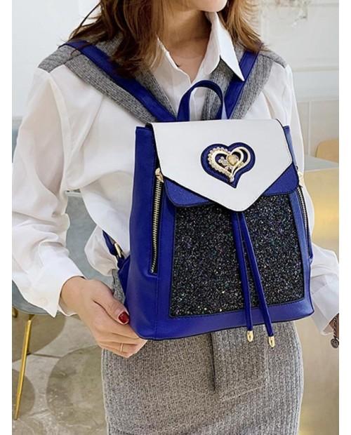 Animal Print Leather Backpack Set - Cobalt Blue