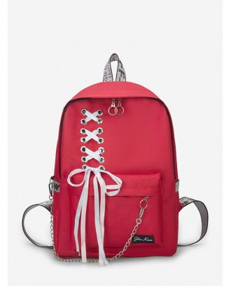 Canvas Lace-up Bowknot Backpack - Rosso Red