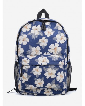 Casual Flower Pattern Student Backpack - Navy Blue