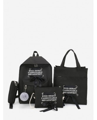 4Pcs Student Canvas Backpack Set - Black