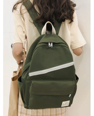 Badge Zipper Decoration Canvas Backpack - Medium Forest Green