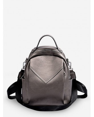 Chevron Design Mini Backpack - Gray Cloud
