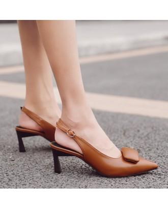 High Heel Slingback Pumps - Brown 38