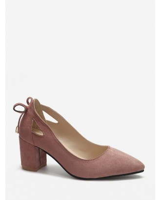Cut Out Tie Back Chunky Heel Pumps - Pink Eu 41