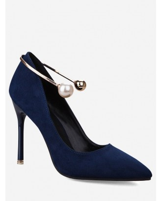 Faux Pearl Ankle Strap Stiletto Pumps - Royal 34