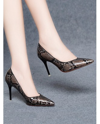 High Heel Snake Pattern Faux Leather Pumps - Deep Brown Eu 38