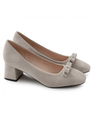 Block Heel Bow Faux Suede Pumps - Gray 39