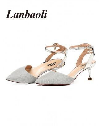Lanbaoli Pointed Toe Mid Heel Pumps - Silver 35