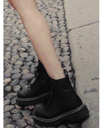 Creative Lace Up Chunky Heel Ankle Boots - Black Eu 37