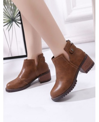 Chunky Heel PU Leather Notched Ankle Boots - Light Brown Eu 38