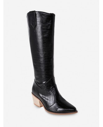 Animal Embossed Pointed Toe Knee High Boots - Black Eu 39