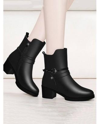 Circle Strap Chunky Heel Mid Calf Boots - Black Eu 39