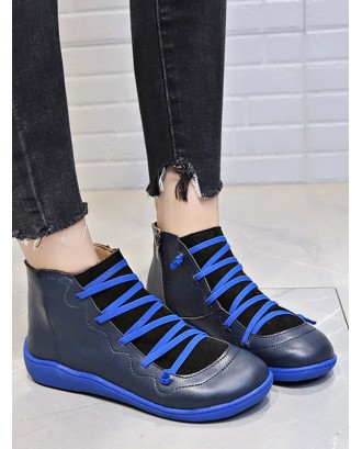 Criss-cross Patch Round Toe Ankle Boots - Blue Eu 42