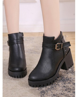 Chunky Heel Buckle and Rivet Embellished PU Leather Ankle Boots - Black Eu 39