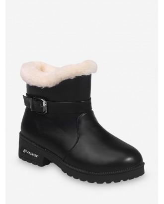 Buckle Strap PU Leather Faux Fur Ankle Boots - Black Eu 40