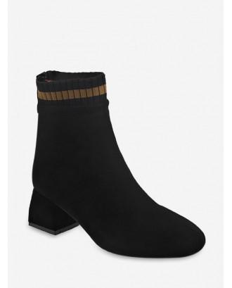 Contrast Stripe Block Heel Suede Ankle Boots - Black Eu 41