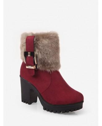 Buckle Zipper Design Chunky Heel Boots - Red Eu 39