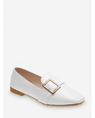 Buckle Strap PU Leather Slip On Flats - White Eu 37