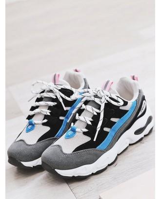 Color Block Mesh Trim Platform Sneakers - Black Eu 35