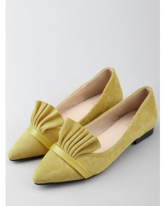 Chic Slip On Ruffles Pointed Toe Flats - Yellow 39