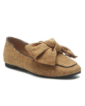 Bowknot Slip On Loafers - Brown 36