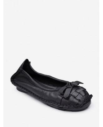 Braid Round Toe Bowknot Slip On Flat Shoes - Black Eu 38