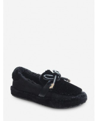 Bow Decorated Slip On Fuzzy Shoes - Black Eu 37