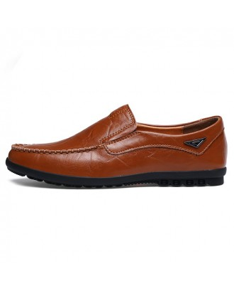 Men's Casual Leather Flat Shoes - Brown Eu 39