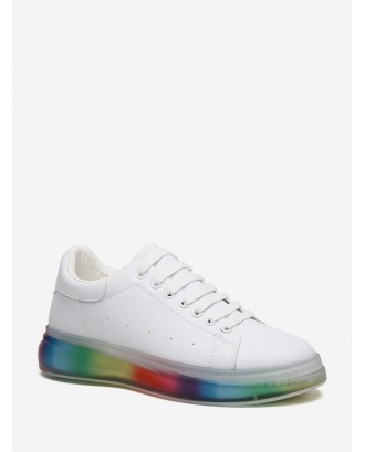 Colorful Gradient Sole Low Top Skate Shoes - White Eu 39