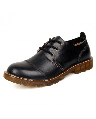 Men Large Size Fashionable Business Casual Leather Boots - Black Eu 43