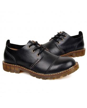 Men Large Size Fashionable Business Casual Leather Boots - Black Eu 43