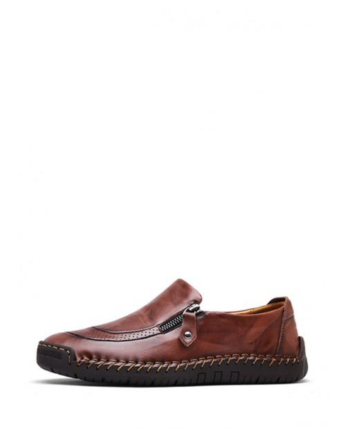 Casual Soft Leather Solid Shoes - Deep Brown Eu 43