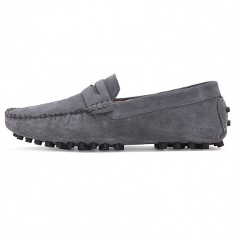 0086 Men's Peas Shoes Large Size One Pedal Driving - Gray Eu 43