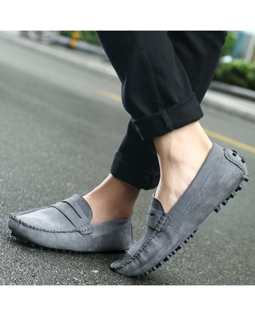 0086 Men's Peas Shoes Large Size One Pedal Driving - Gray Eu 43