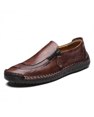 Men Simple All-match Leisure Leather Shoes - Chestnut Red Eu 44