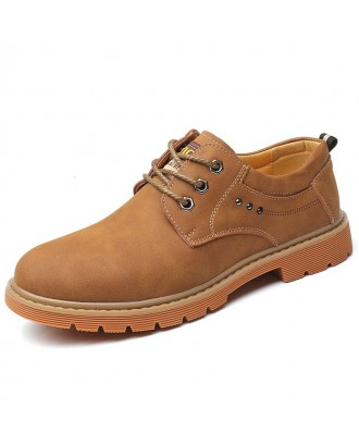Microfiber Leather Oxford Boots for Men - Dark Khaki Eu 44