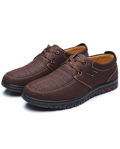 Casual Genuine Leather Shoes for Men - Dark Khaki 40