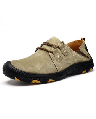 Men's Leather Casual Shoes Outdoor - Red Wine Eu 46