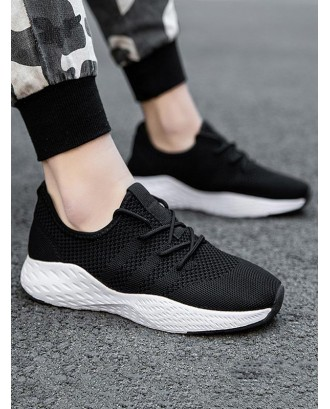 Knitted Breathable Lace Up Sneakers - Natural Black Eu 43