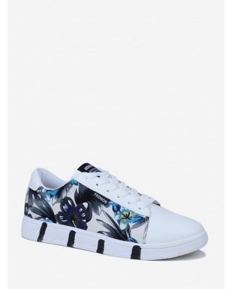 Ink Flower Print Skate Shoes - Slate Blue Eu 42