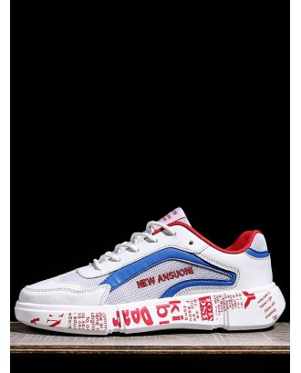 Letter Role Breathable Sneakers - Blue Eu 40