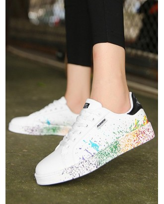 Splash Paint PU Leather Skate Shoes - Black Eu 43
