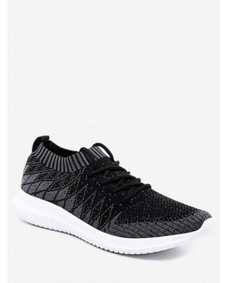 Outdoor Geometric Knit Mesh Sneakers - Black Eu 39