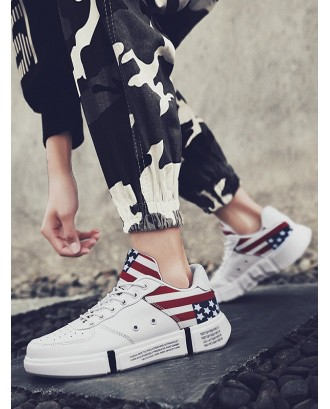 Letter Star Print Casual Sport Sneakers - White Eu 41