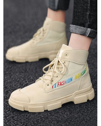 Letter Graphic Canvas Ankle Boots - Beige Eu 43