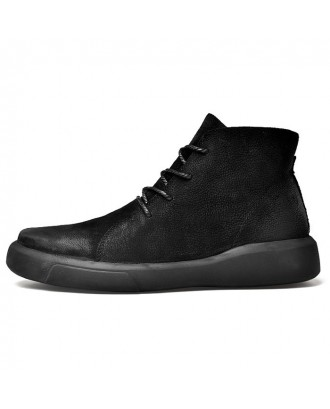 Men Comfortable Boots Stylish High-top Lace-up Warm Shoes - Black Eu 41